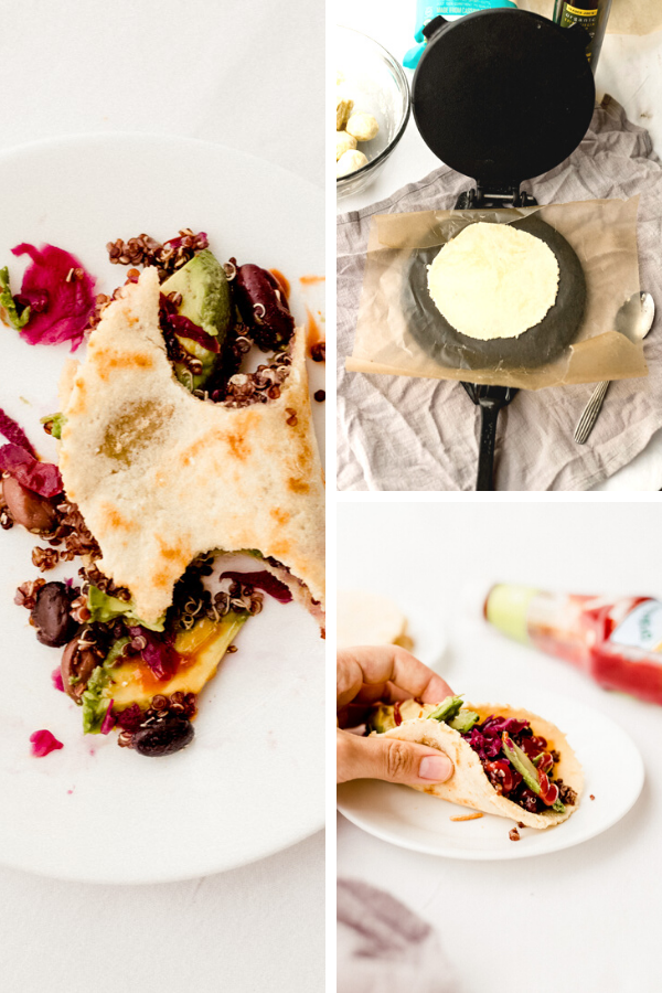 A collage showing an image of the homemade cassava flour tortilla in a tortilla press and also the tortilla with stuffing inside.