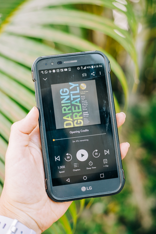A picture of a cellphone showing the audio book Daring Greatly