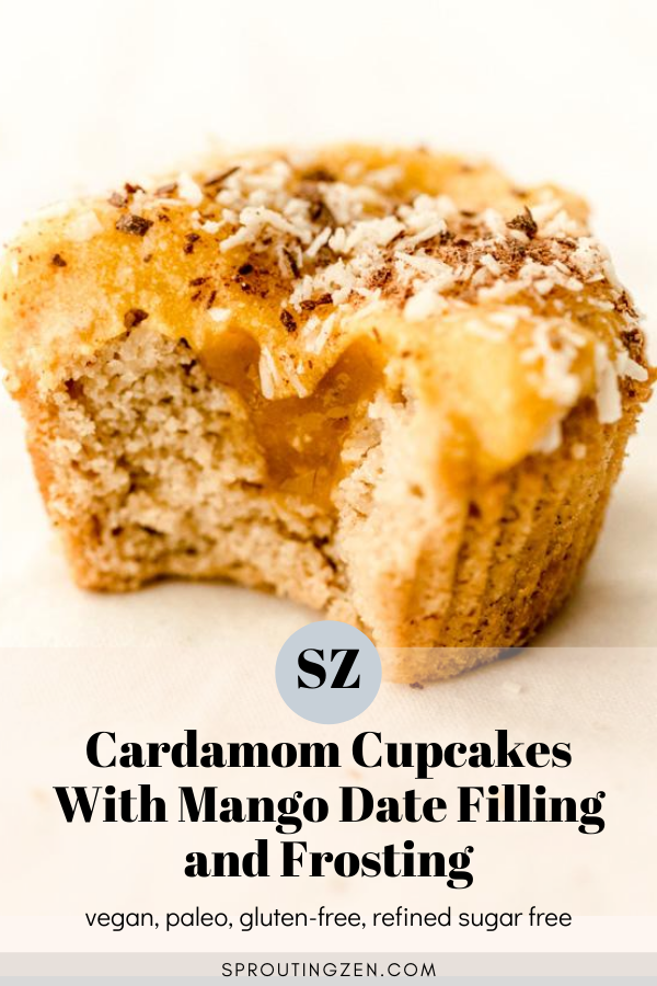 Vegan cardamom cupcake with mango date filling and frosting | Sprouting Zen