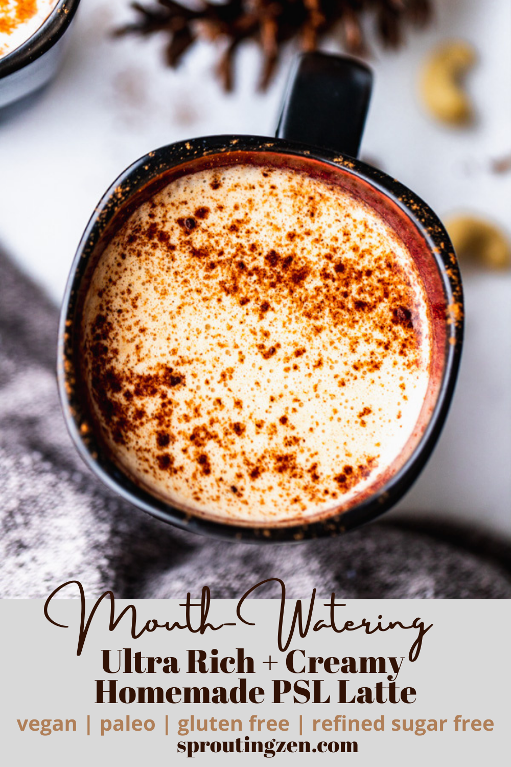 A mouthwatering creamy pumpkin spiced latte that is vegan, paleo, gluten free and sweetened with dates! | Sprouting Zen