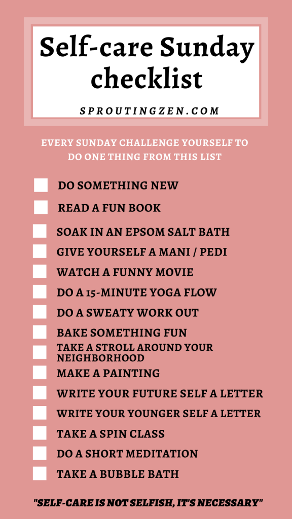A checklist of self-care sunday ideas for moms