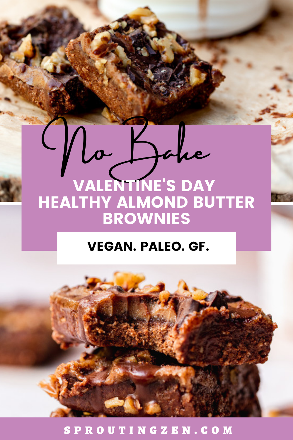 Pin image for valentine's day no bake brownies
