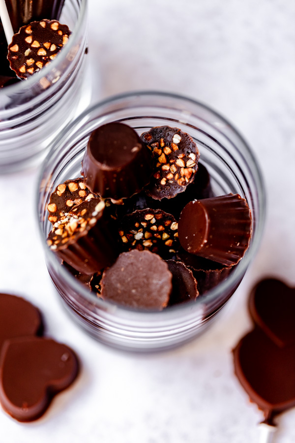 A jar with homemade chocolate inside