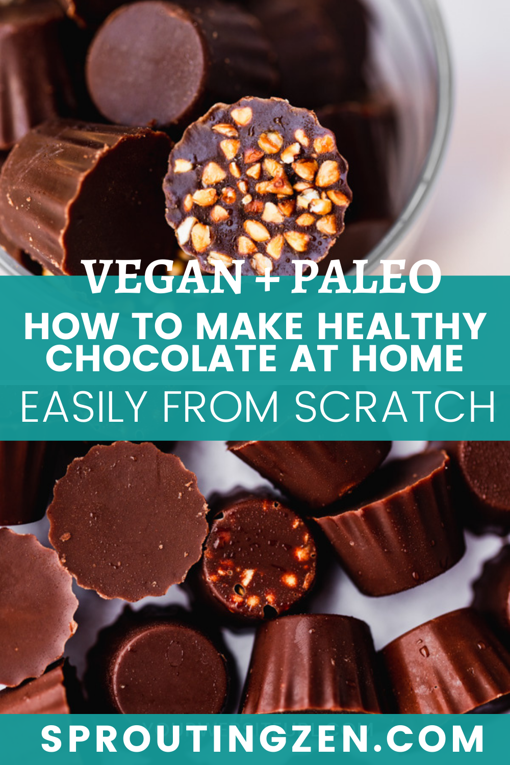 a pin image for healthy homemade chocolate