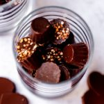 A glass cup with homemade chocolates
