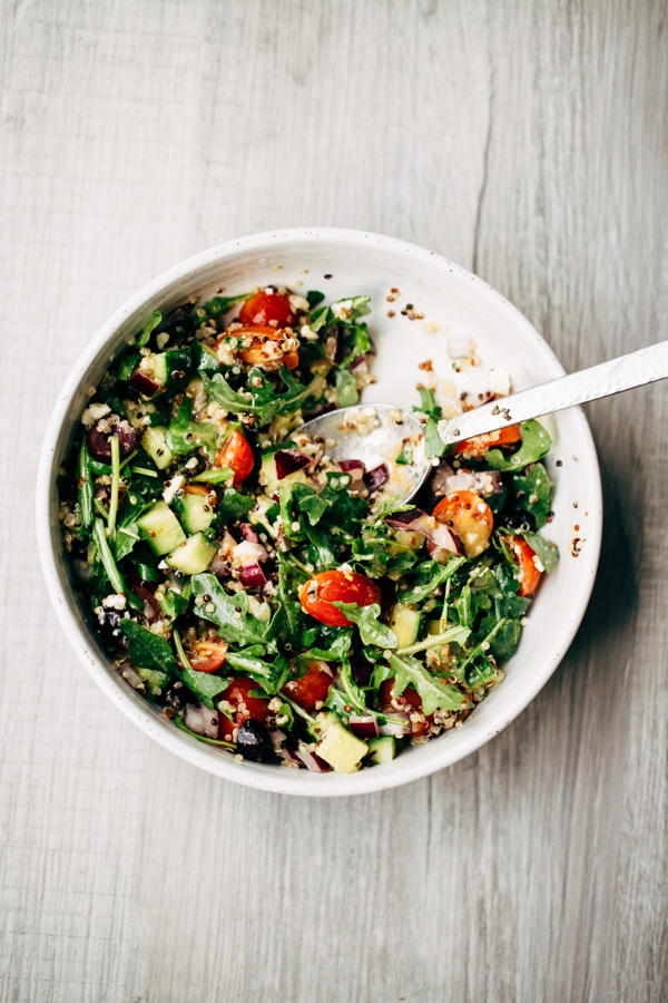 A bowl with easy healthy greek salad
