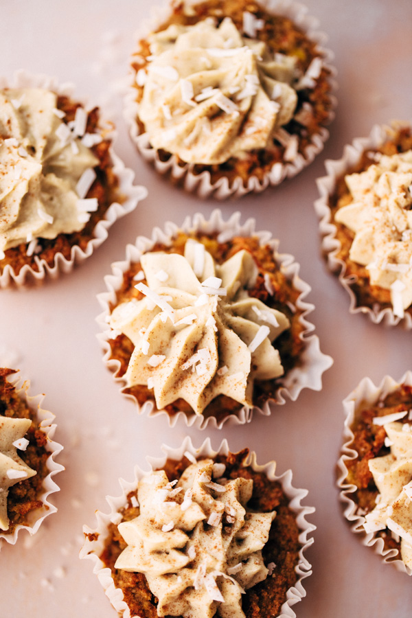 a top view of pineapple carrot cake cupcakes