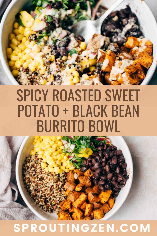 spicy roasted sweet potato and black bean burrito bowl