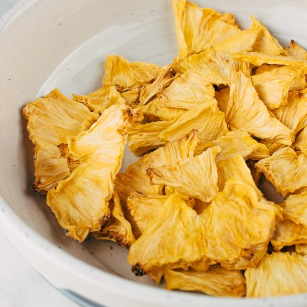 dehydrated pineapple chunks in a bowl