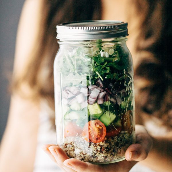 Easy Healthy Greek Salad In a Jar With Quinoa Recipe | Sprouting Zen