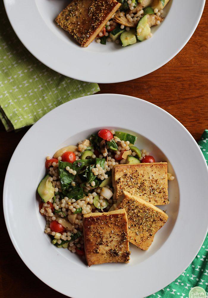 overhead-israeli-couscous-salad-tofu