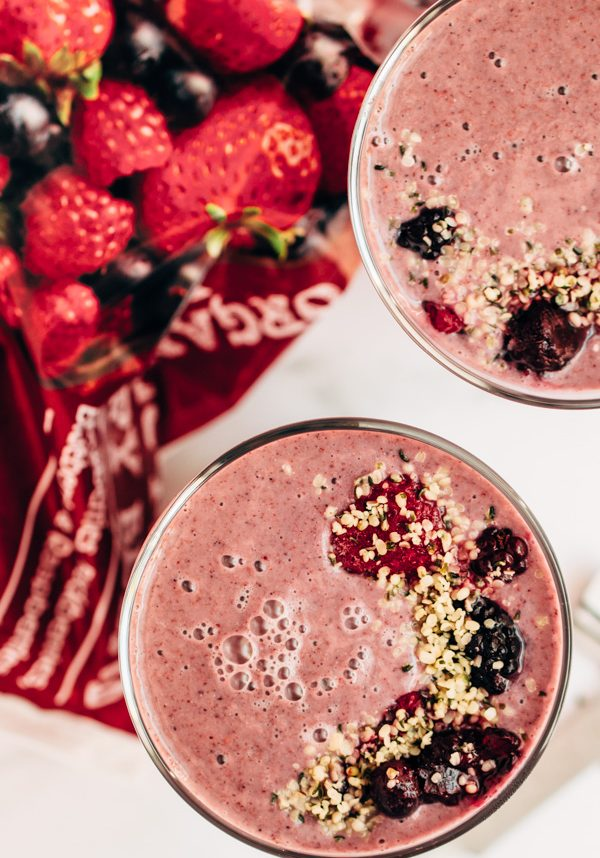 two cups with protein packed vegan breakfast smoothie