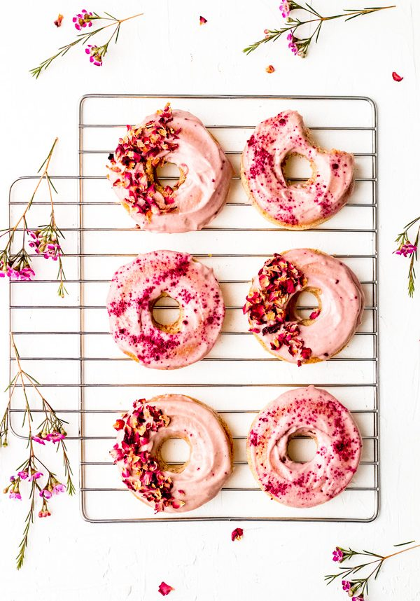 rosy pink vegan cake donuts oil free sugar free healthy