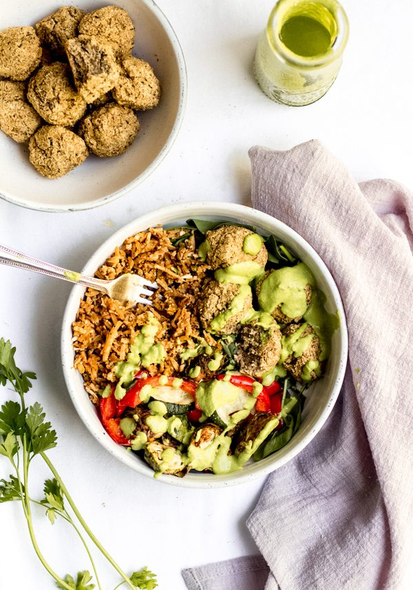 vegan baked lentil falafel summer bliss bowl