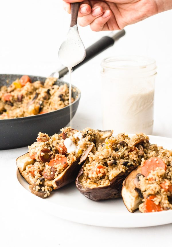 vegan stuffed roasted eggplant with quinoa, mushrooms, and multi colored carrots (5 of 11)