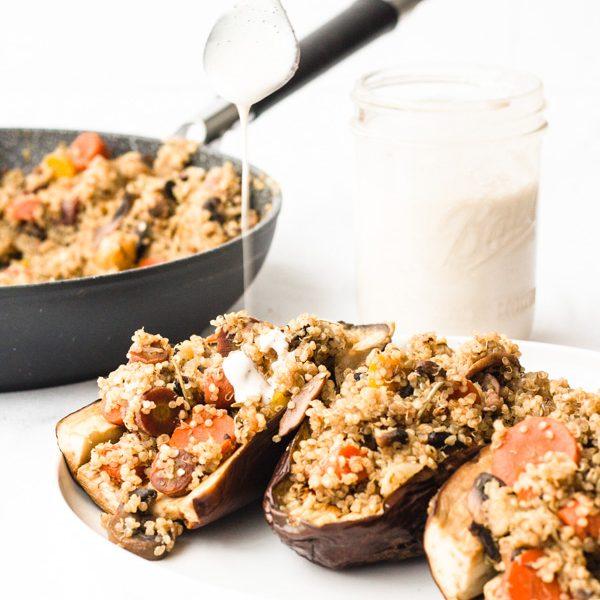 vegan stuffed roasted eggplant with quinoa, mushrooms, and multi colored carrots (5 of 11)